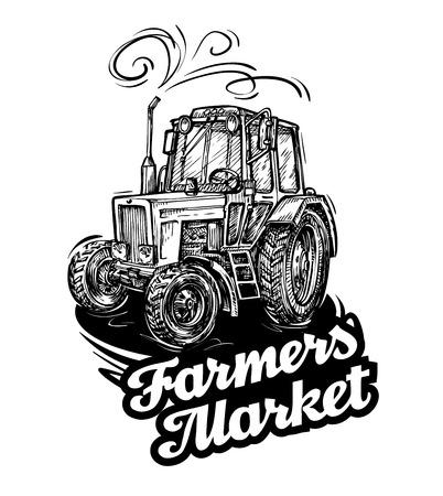 old tractors: farm tractor. hand drawn sketch. vector illustration