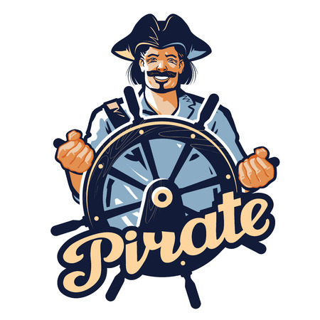 sea robber: Jolly pirate at the helm  vector illustration