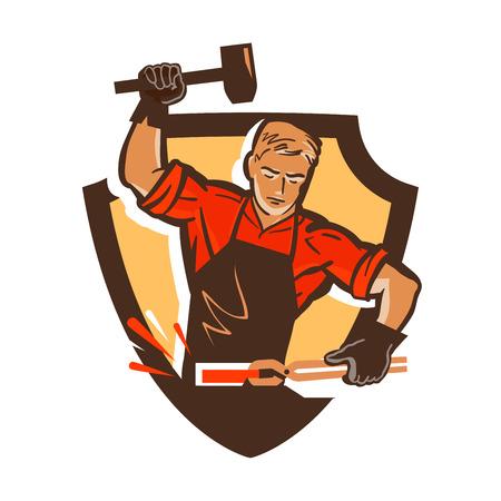 smithery: blacksmith, smithy  icon. vector illustration