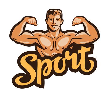 flexing: muscular man flexes hands. vector illustration Illustration