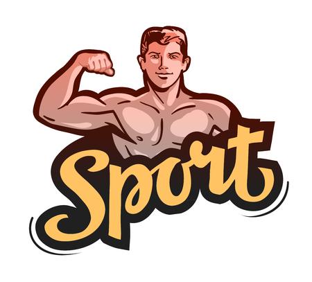 sport or gym. bodybuilder bends arm. vector illustration