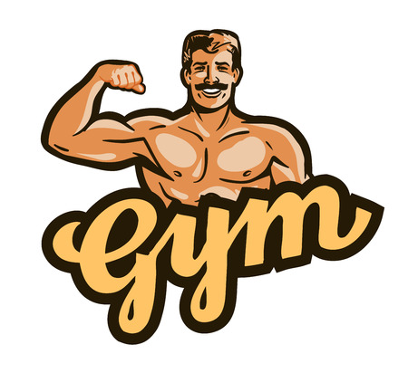 bodybuilding: gym vector. sport, fitness or bodybuilding icon Illustration