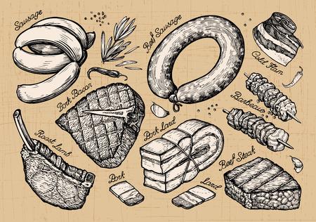meat food: meat, food. set sketch elements hand drawn. vector illustration Illustration