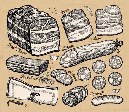 mercado de carne. bocetos dibujados a mano de los alimentos. ilustración vectorial