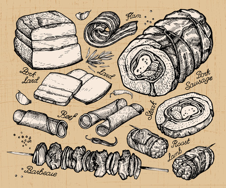 delicatessen: butcher shop, meat. hand-drawn sketches of food. vector illustration