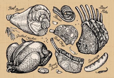 butcher shop: meat, butcher shop. hand drawn sketches of food. vector illustration