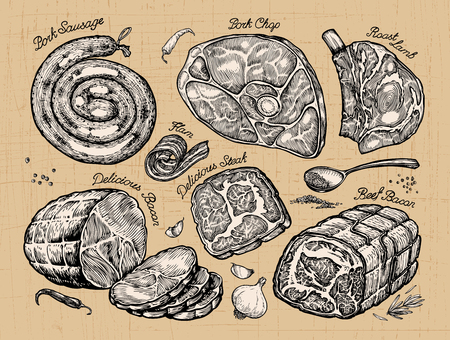 sausages: meat. hand drawn set sketch food. vector illustration