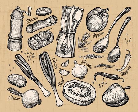 gastronomy: cooking, food. set vector elements for restaurant menu or cafe Illustration