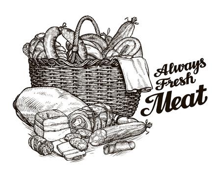 vleesproducten. handgetekende schetsen van voedsel. vector illustratie