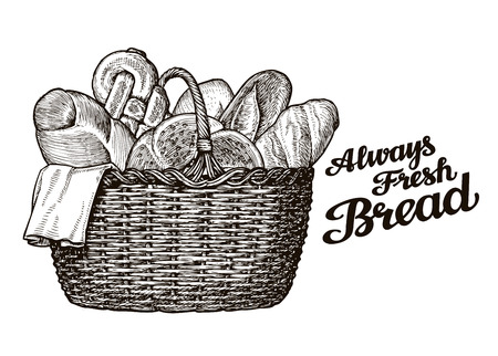 bread, bakery. hand drawn sketch of food. vector illustration