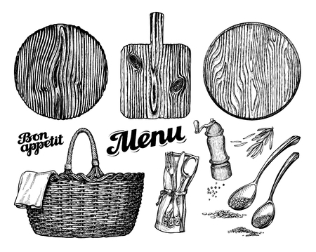 cutting or chopping board, wicker basket, tableware. vector illustration