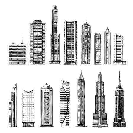 tall buildings: city. hand drawn sketch skyscrapers. vector illustration