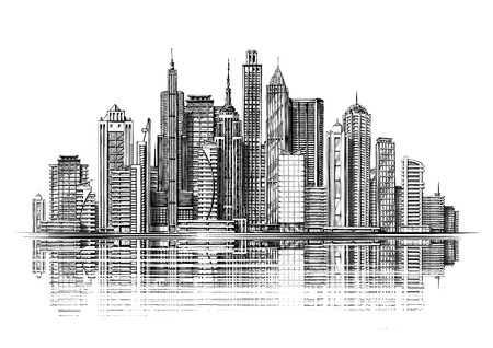 spire: Big city architecture. Skyscrapers sketch
