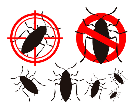 infestation: pest control. cockroach icon set. vector illustration