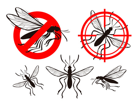 poisoning: mosquito icon set. pest control vector illustration
