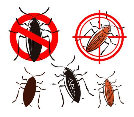 extermination: cockroach, pest control icons set. vector illustration Illustration