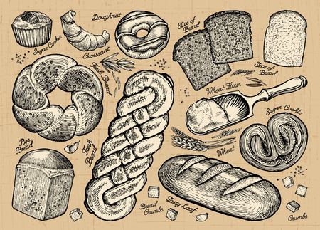 baked goods: Set of bread and bakery products. Vector illustration Illustration