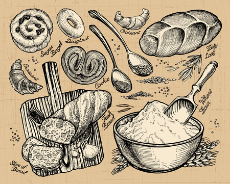 cutting board: bakery, bread. hand drawn sketches of food. vector illustration Illustration