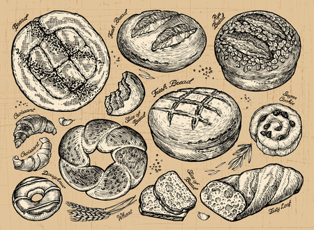 Vintage hand drawn sketch set bakery. vector illustration  イラスト・ベクター素材