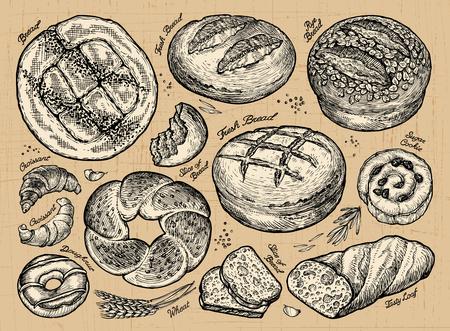 Vintage hand drawn sketch set bakery. vector illustration Vectores