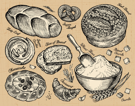 fruitcakes: Vintage hand drawn sketch bakery, bread and pastry. Vector illustration