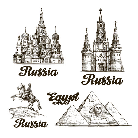 Travel. Hand drawn sketch Russia, Egypt. Vector illustration Stock Illustratie
