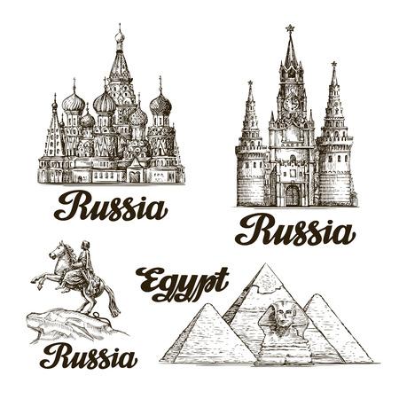 Viajar. croquis dibujado a mano Rusia, Egipto. ilustración vectorial