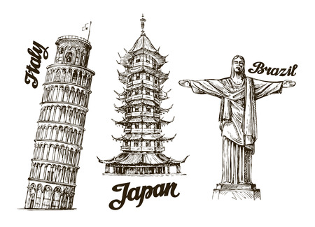leaning tower of pisa: Travel. Hand drawn sketch Italy, Japan, Brazil. Vector illustration Illustration