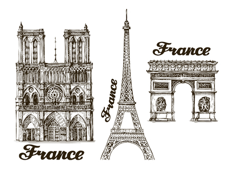 historical: Travel. Hand drawn sketch France. Vector illustration