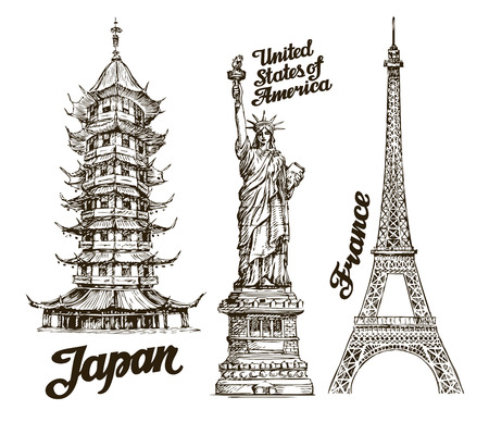 historical: Travel. Hand drawn sketch Japan, USA, France. Vector illustration