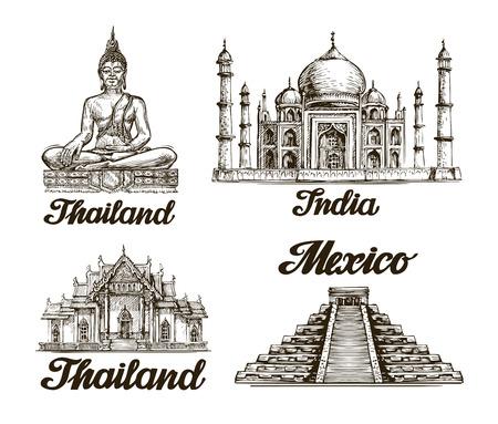 旅行。インド、タイ、メキシコの手描きのスケッチ。ベクトル図  イラスト・ベクター素材