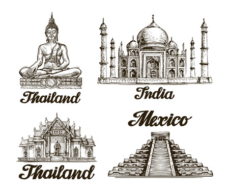 Travel. Hand drawn sketch of India, Thailand, Mexico. Vector illustration Stock Vector - 57686065