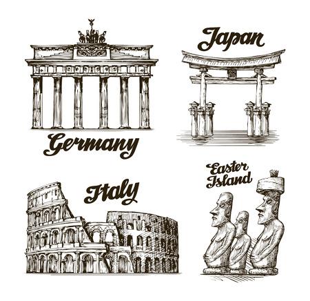 Travel. Hand drawn sketch Germany, Japan, Italy, Easter island. Vector illustration 일러스트
