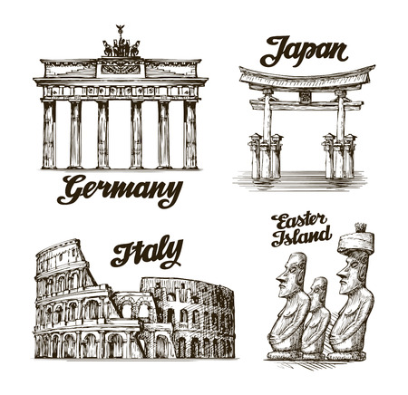 edifice: Travel. Hand drawn sketch Germany, Japan, Italy, Easter island. Vector illustration Illustration