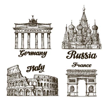 여행. 손으로 그린 된 스케치 베를린, 모스크바, 로마, 파리입니다. 벡터 일러스트 레이 션