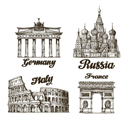 Travel. Hand drawn sketch Berlin, Moscow, Rome, Paris. Vector illustration Çizim