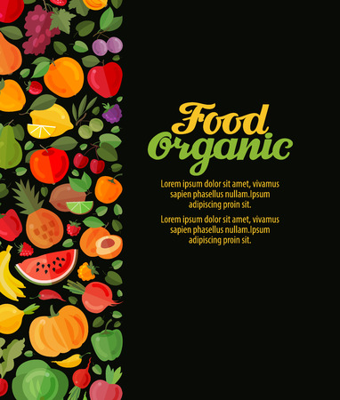 fruits and vegetables. organic food vector illustration