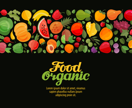 vegetables and fruits vector illustration. organic food