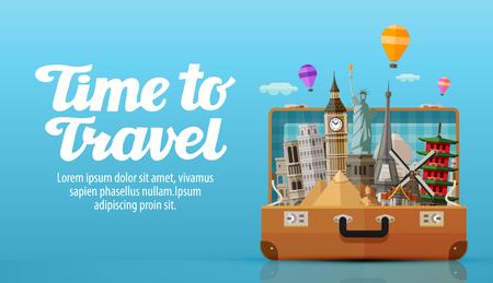 valise voyage: Voyage à monde. valise ouverte avec des repères. illustration vectorielle Illustration