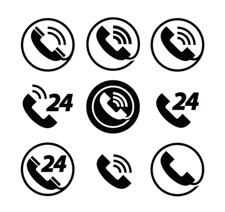 24 hours: phone call. telephone. service 24 hours. set of icons Illustration