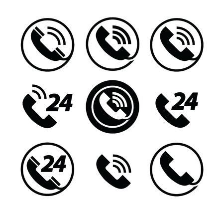 telephone icons: phone call. telephone. service 24 hours. set of icons Illustration