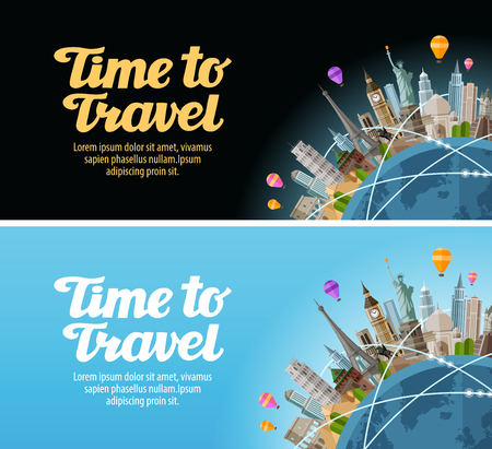 Travel to world. Landmarks on the globe. Journey or vacation Çizim