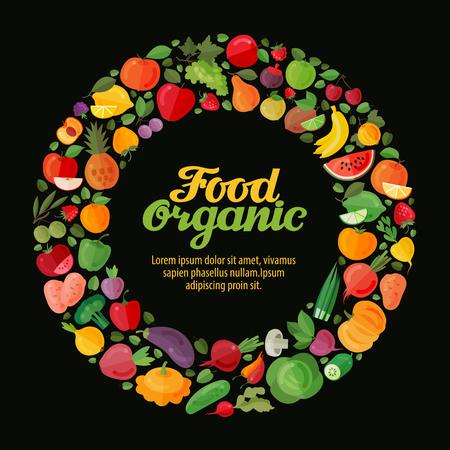 horticulture: Fruits and Vegetables. Gardening, horticulture banner. Organic Food. Vector illustration