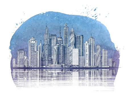 Modern City. Buildings and Skyscraper. Urban landscape banner. Vector illustration Illustration