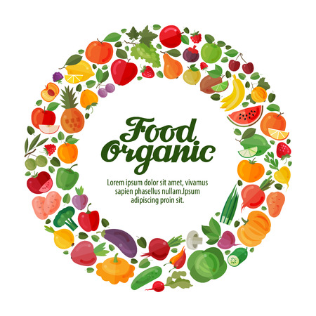 horticulture: Fruits and Vegetables in a circle. Gardening, horticulture. Organic Food banner. Vector illustration
