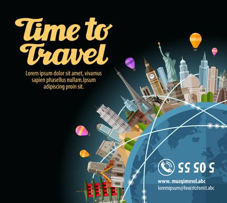 Trip to world. Landmarks on the globe. Journey, travel. Vector illustration