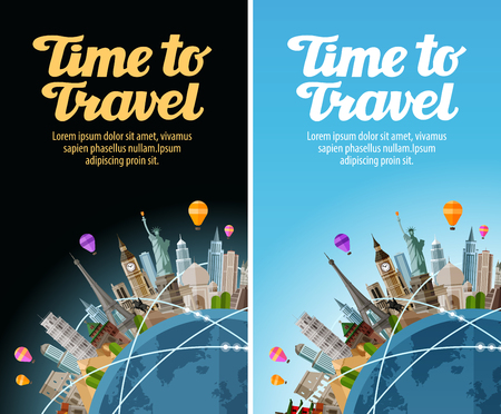 summer holiday: Landmarks on the globe. Travel to world. Journey, trip. Vector illustration