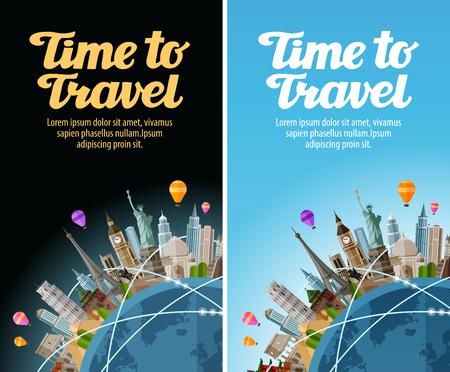 Monumenten op de wereldbol. Reis naar wereld. Journey, reis. vector illustratie