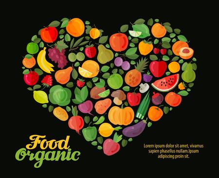 apples and oranges: fruit and vegetable heart. flat illustrations. healthy food design Illustration