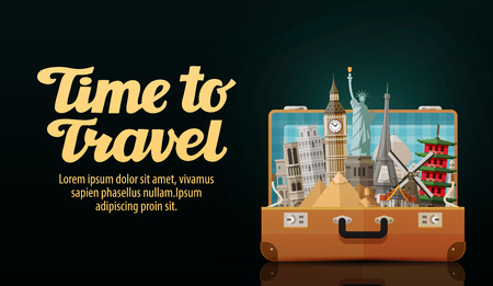 time to travel. historic buildings countries of the world. vector illustration